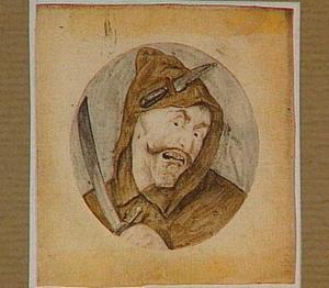 Monnik die een zwaard vasthoudt