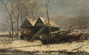 Winterlandschap met de voormalige Zuiderscheepshelling en de Motten