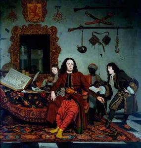 Groepsportret van Thomas Hees (?-1692), Jan Hees (1670-1714) en Andries Hees (1662-1720), met een bediende
