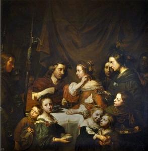 Portrait historié van Salomon de Bray (1597-1664) en Anna Westerbaen (....-1663) als Marcus Antonius en Cleopatra, omringd door hun familie