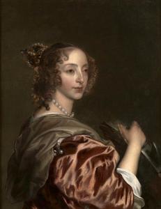 Portret van Henrietta Maria de Bourbon (1609-1669), koningin van Engeland, als de H. Catharina