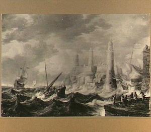 Schepen in een storm bij een exotische havenstad