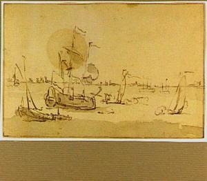 Marine met saluutschoten lossende schepen