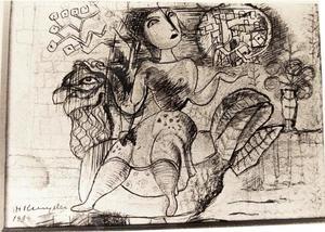 Vrouw zittend op een haan