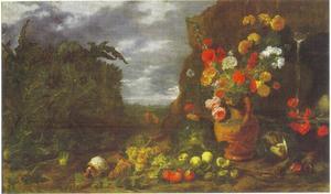 Kan met bloemen, vruchten en een marmot in een landschap met in de achtergrond Christus als hovenier
