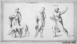 Man in toga met twee honden, en twee andere Romeinen