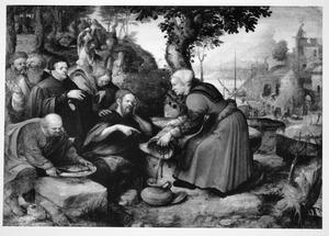 Christus en de vrouw uit Samaria bij de bron (Johannes 4:7-27), met stichter