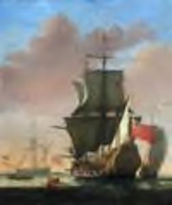 Oorlogsschip met de Engelse vlag