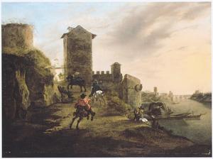 Zuidelijk landschap met galopperende ruiters op een weg langs een herberg bij een stadsmuur (in de verte Castel Sant'Angelo en de Ponte Sant'Angelo in Rome)