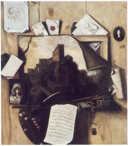 Trompe l'oeil met schildersmateriaal, brieven en muziekblad