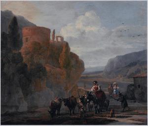 Zuidelijk berglandschap met een herderin op een muilezel en reizigers