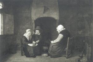 Interieur met twee kinderen en een vrouw die een maaltijd bereiden