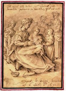 Moeder met twee kinderen en drie dienstmeiden