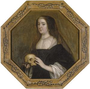 Portret van Amalia van Solms als weduwe met een schedel