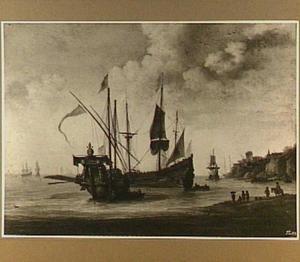 Mediterraan kustgezicht met een schip met de pauselijke wapens