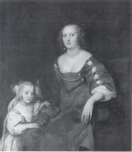 Portret van Margaret Russell, Countess of Carlisle (1618-1676), met een meisje