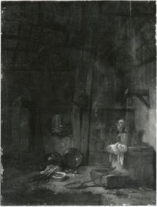 Interieur van een boerderij met vrouw bij een waterput