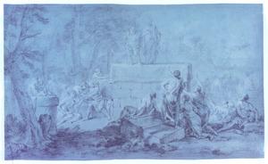 Oosters landschap met twee figuren op eeen stenen verhoging omgeven door gebarende figuren