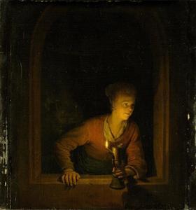 Meisje met olielamp in een venster