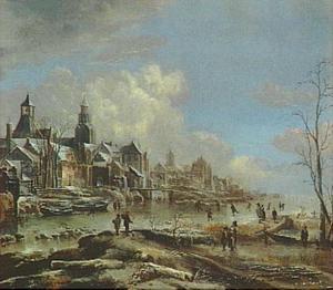 Winterlandschap met dorp aan een rivier