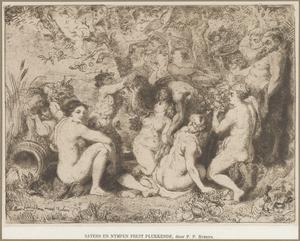 Nimfen en saters feestend in een bosrijke omgeving