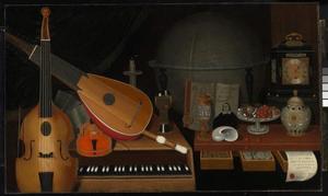 Vanitasstilleven met muziekinstrumenten, een betaaltafel, een globe en andere voorwerpen