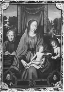 De Heilige Familie en een engel met de stichtersportretten van Simâo Rodrigues de Evora en zijn echtgenote