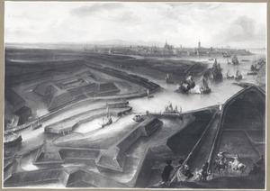 Vogelvluchtgezicht van het Fort Saint Philippe en de Slijkens sluis, met Oostende in de achtergrond