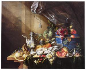 Stilleven met vaatwerk, vruchten en oesters, met links een venster