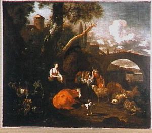 Herderin, pakezel en vee bij een antieke tuinvaas op