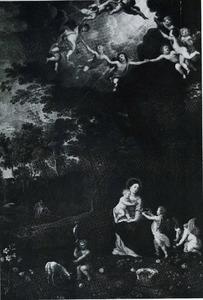 Maria met kind omringd door putti