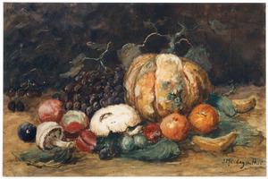 Vruchtenstilleven met pompoen, druiven en paddestoelen
