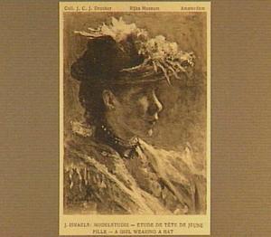 Portret van een jonge vrouw met een hoed