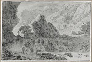 Rotslandschap met stenen brug over een rivier met waterval