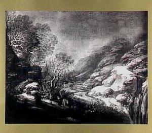 Winterlandschap met enkele figuren op een landweg