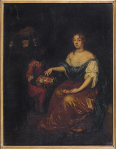 Portret van een onbekende vrouw met een bediende