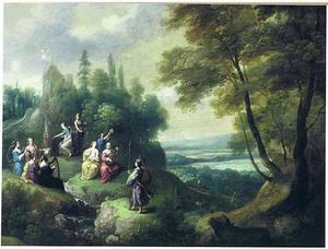 Landschap met Pallas Athena die de muzen op de Helicon bezoekt