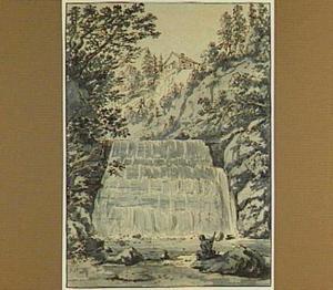 Zwitsers berglandschap met waterval en rustende man