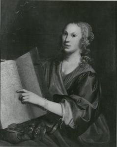 Portret van een vrouw met een bijbel