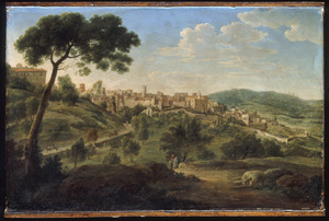 Heuvellandschap met onbekende stad in de omgeving van Rome