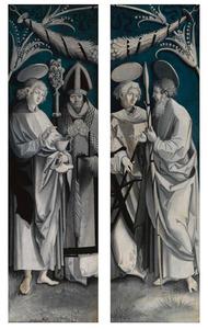 Twee buitenluiken van een triptiek, linkervleugel: Johannes de Evangelist en de H. Erasmus, rechtervleugel: H. Laurentius en H. Thomas