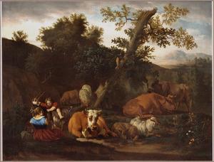 Bosachtiog landschap met rustend vee , herderin en spelend kind
