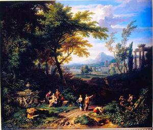 Arcadisch landschap met nimfen bij een tombe