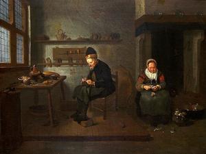 Schoenmaker in zijn werkplaats met een vrouw die uien schilt