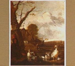 Eenden in een vijver met op de achtergrond vissers en een boerderij