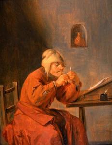 Een schrijver die zijn pen bijsnijdt