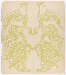 Decoratieve voorstelling op biljet voor de cursus Kunstgeschiedenis en Aesthetiek van H.P. Bremmer''
