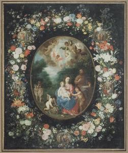 Voorstelling van de Heilige Familie met Johannes de Doper in een bloemenkrans met daarin opgenomen medaillons met voorstellingen uit het leven van Maria