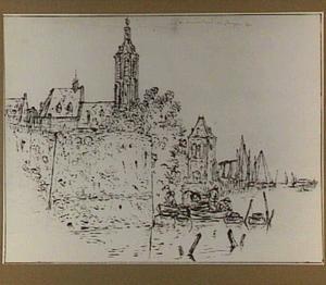 Stad aan het water, met motief van de Grote Kerk van Den Haag