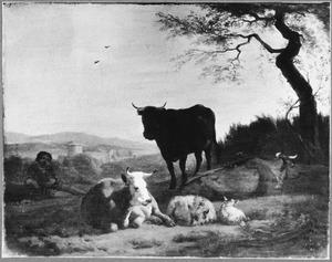 Heuvellandschap met rustend vee en herder
